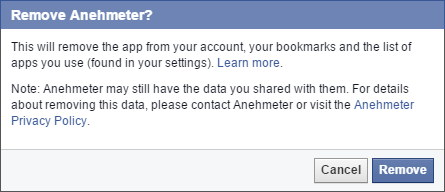 Facebook Remove Apps