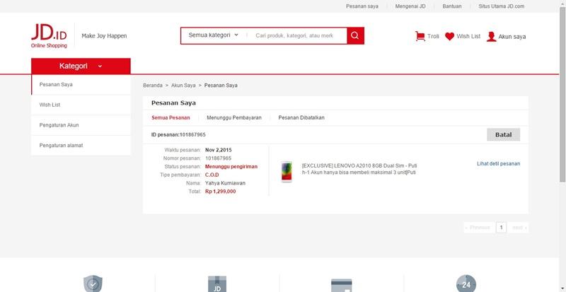 Pembelian Lenovo di JD Indonesia